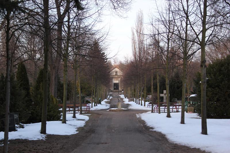Weg auf dem Friedhof Friedrichshain