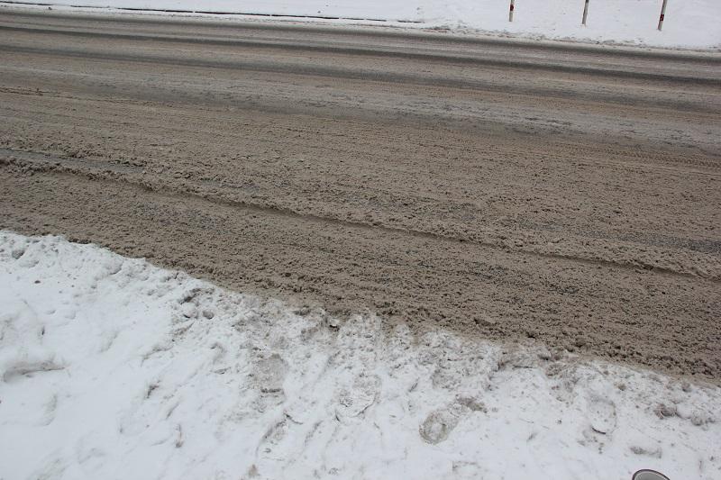 Schneematsch Strasse Friedrichshain