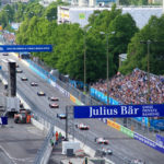 Formel E Rennen Rennwagen von hinten
